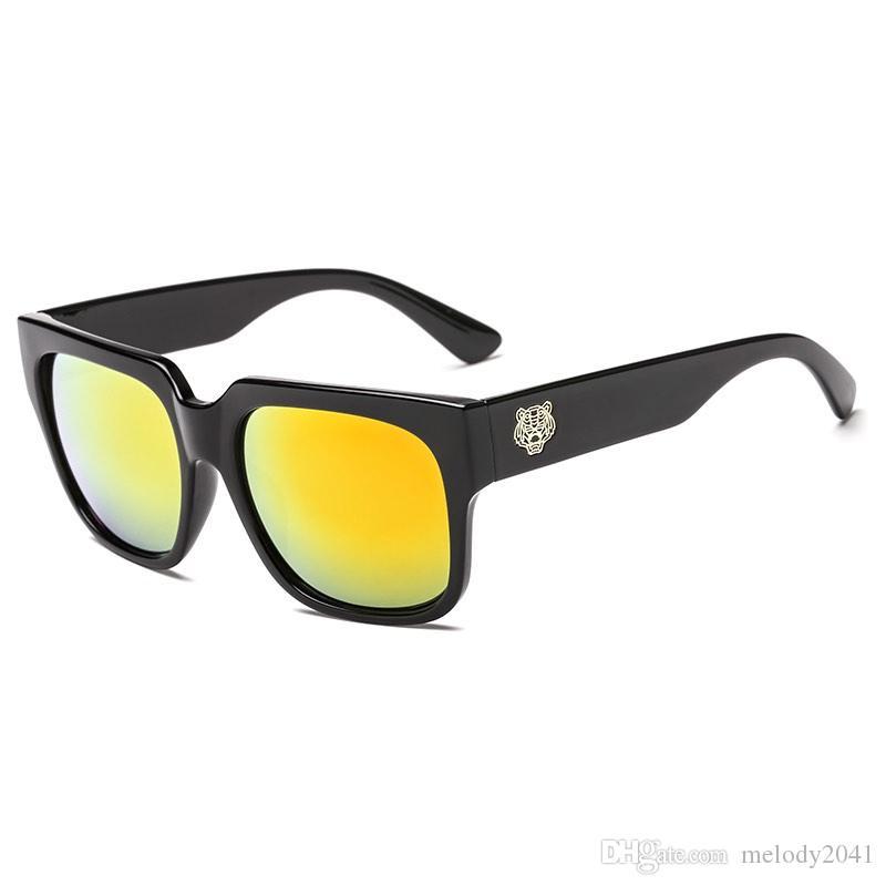 b0eaa9ac5d9a New Arrival Black Rectangle Sunglasses Gold Tiger Cool Fashion Sun ...
