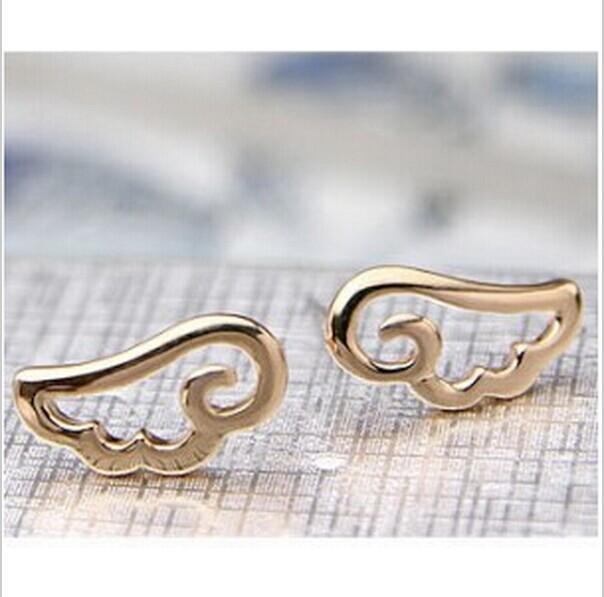 Women's fashion lovely sweet jewelry earrings saving angel wings Stud Earrings 4ED132