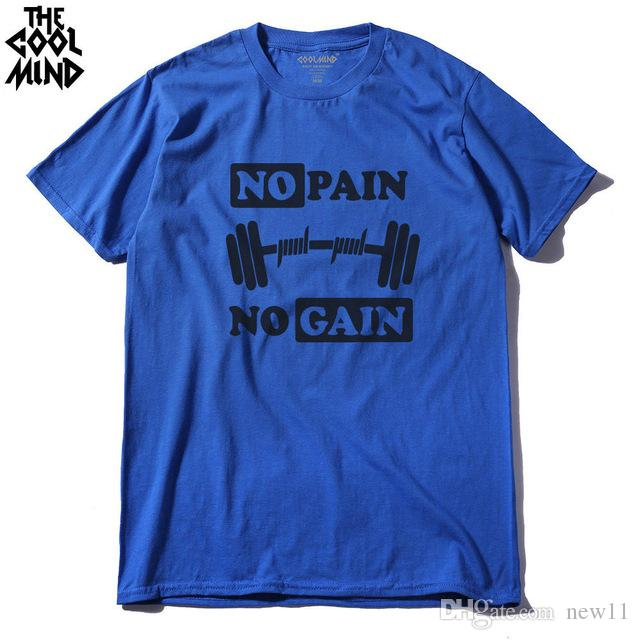2019 Mens Designer T Shirts Cotton No Pain No Gain Print Men Tshirt Casual  O Neck Men Muscle Body Building T Shirt Shirt Golf Tea Shirt Vintage Tee  Shirts ... dbda03d4f609