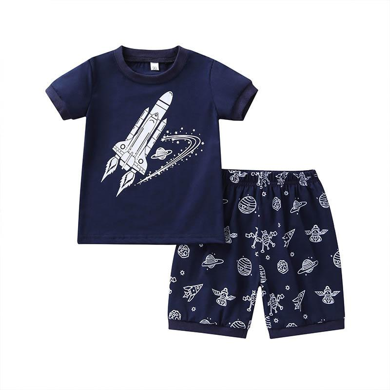Summer Ins casual boys suits boys clothing sets kids designer clothes boys kids outfits Cartoon T shirt+shorts 2pcs kids clothes A6500
