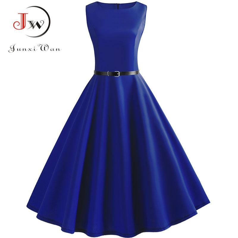 20931ca97c54 2019 Blue Vintage Swing Dress Women Summer Dot Summer Casual Midi Dresses  Elegant Party Dress Vestido Tunic Plus Size Robe Femme Y19012201 From  Tao02, ...