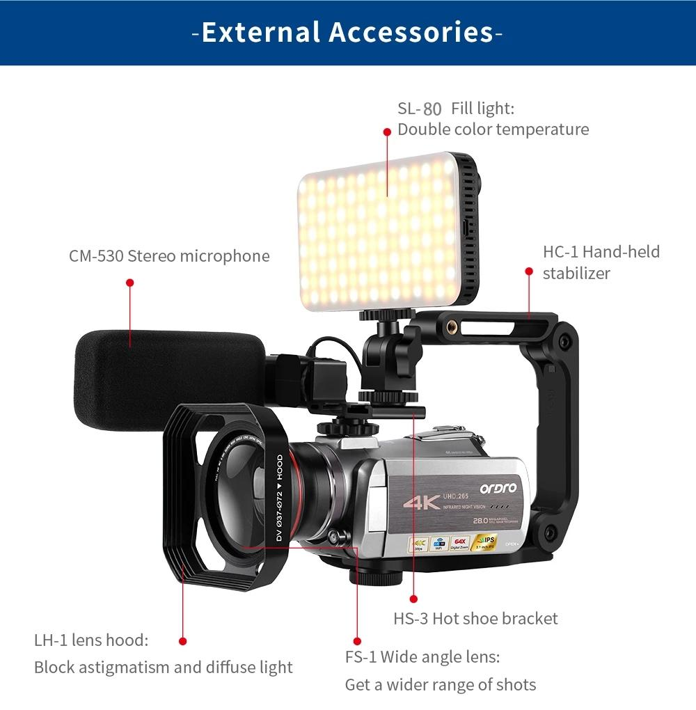 ORDRO AZ50 4K Video Camera 30FPS Night Vision Camcorder H.265 Format Support Stereo Microphone Max 28mp Professional Camera