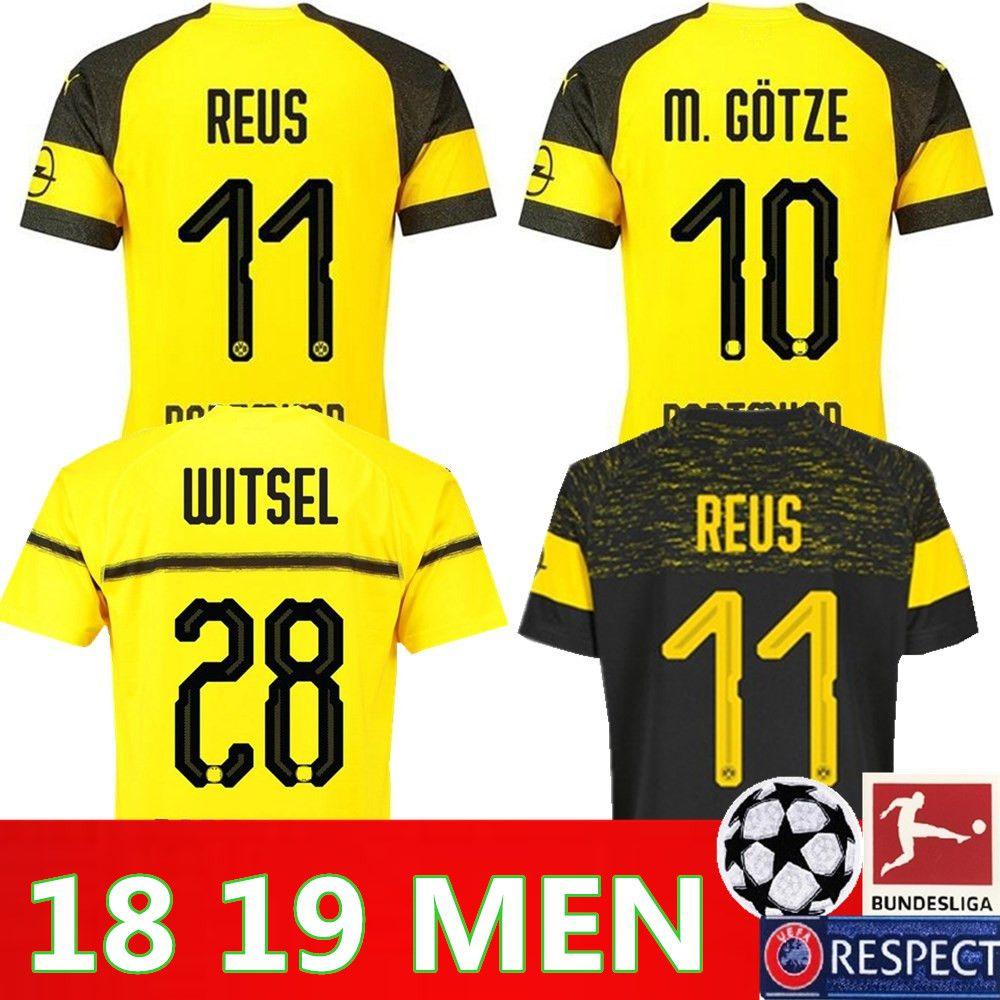 competitive price fb4dd 9e316 2019 Dortmund Away Soccer Jersey 18 19 #11 REUS Away Black Soccer Shirt  Customized #22 PULISIC #10 M.GOTZE Football Uniform On Sales
