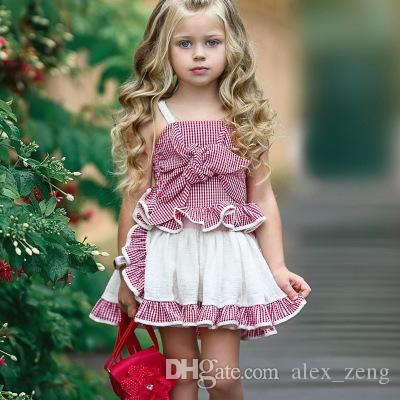 b2d769638407 2019 Baby Girls Sets Children Plaid Set Fashion Bow Suspender Tops + ...