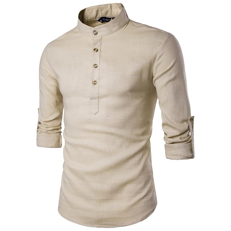 Khaki Cotton Linen Shirt Men 2019 Autumn New Rolled Up Sleeve Mens Casual Dress Shirts Slim Fit Henley Shirt Male Chemise Homme