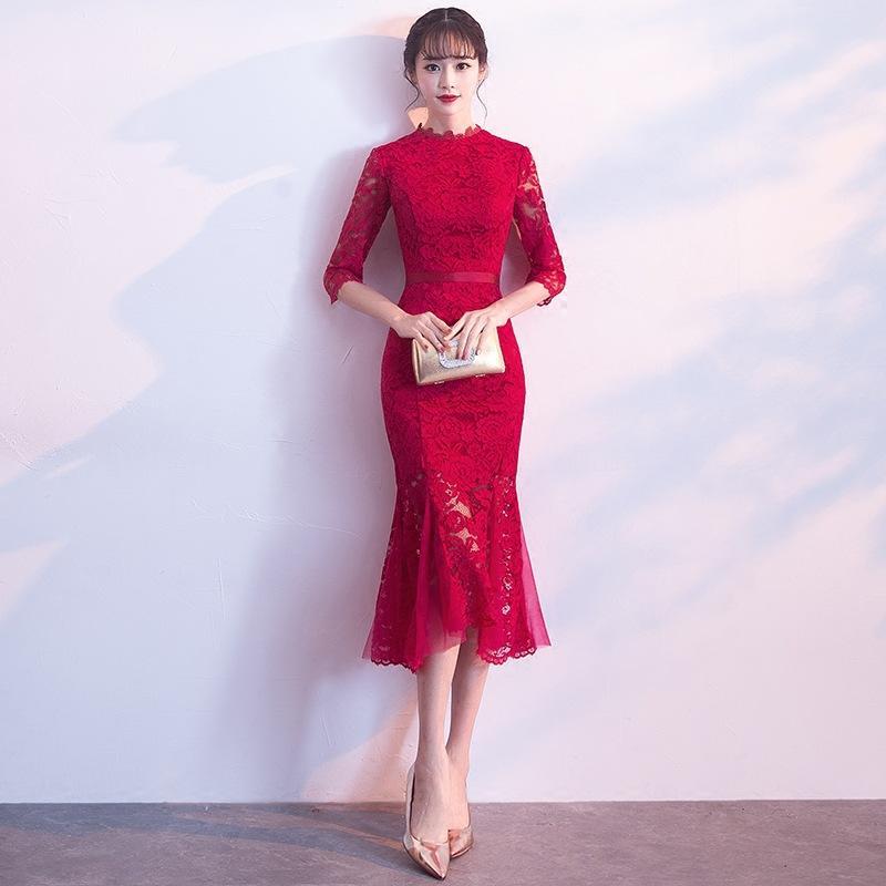 Diseñador De La Marca Vestido Chino Tradicional Qipao Damas Vestidos De Noche Vintage Cheongsam Novia De Encaje Vestido De Cola De Pescado
