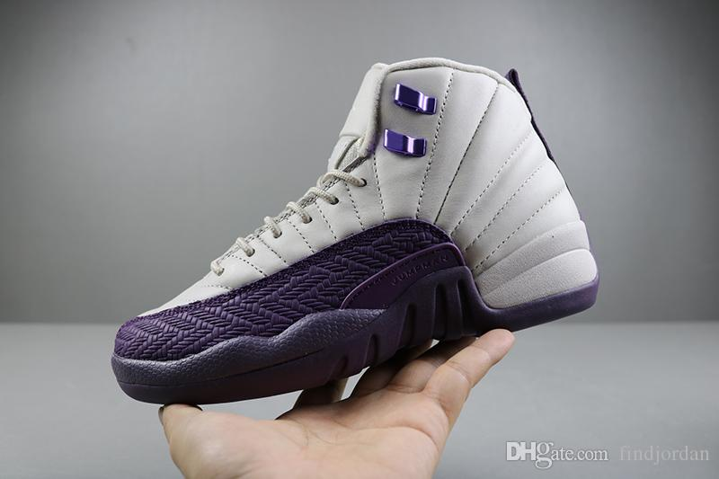 ef941570a9c6 2019 New Arrival 12 GS Desert Sand Pro Purple Women Basketball Shoes High  Quality Fashion White Purple Ladies Designer Sports Sneakers With Box From  ...