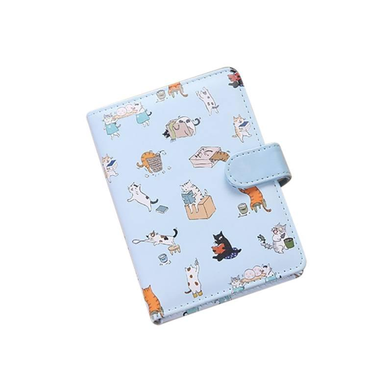 Cute Cartoon Cat Notebook Imitation Leather Cover Magnetic Buckle Hand Account Book Student Stationery Supply Children Notepad