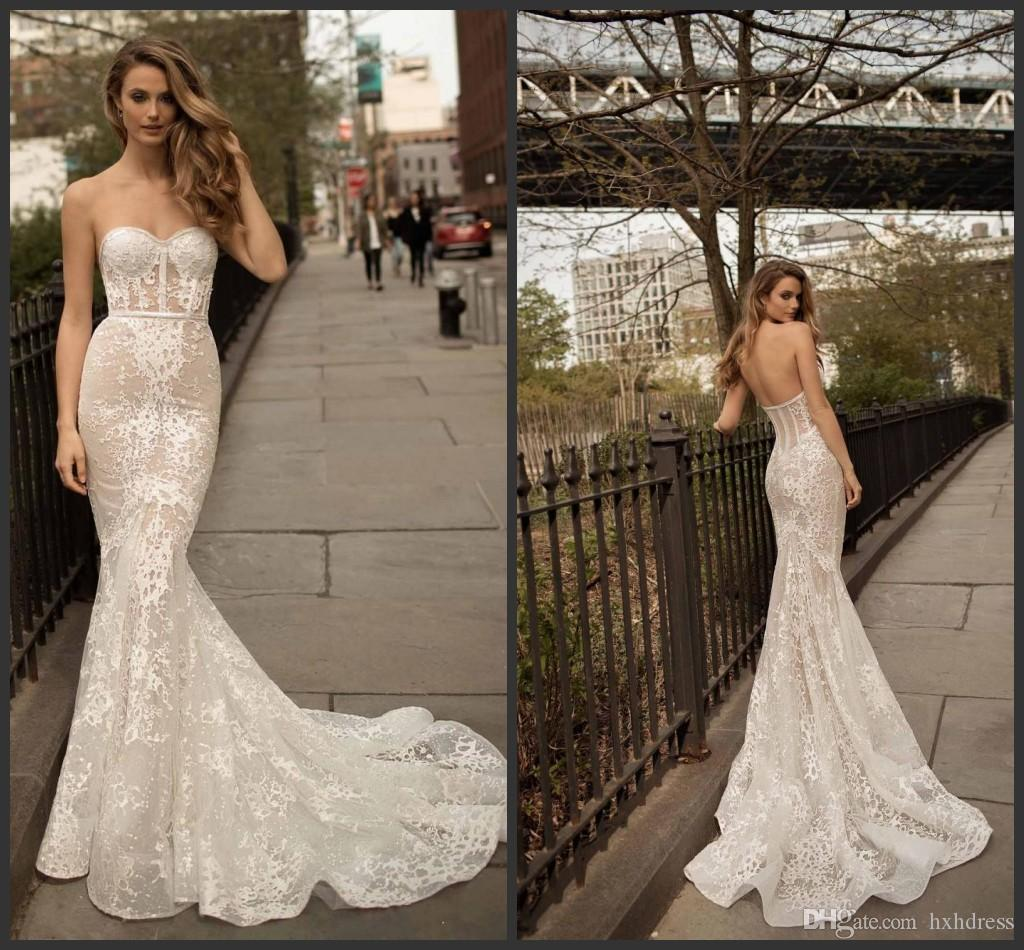 Sweetheart Neckline Lace Mermaid Wedding Dresses New 2019: 2019 New Berta Full Lace Mermaid Wedding Dresses