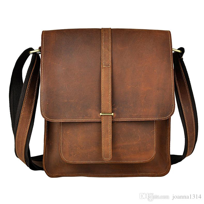 Crazy Horse Leather Men Shoulder Bag For Pad And IPad Carry Bag For  Business Men Vintage Brand Designer Bag For Casual And Business Handbags On  Sale Leather ... a34d74597b2f4