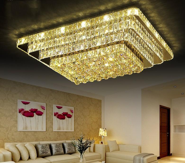 New Crystal Rectangular Living Room Ceiling Lamps Lighting Led Roof Suction Lighting Simple Modern Atmospheric Bedroom Dining Room Lights