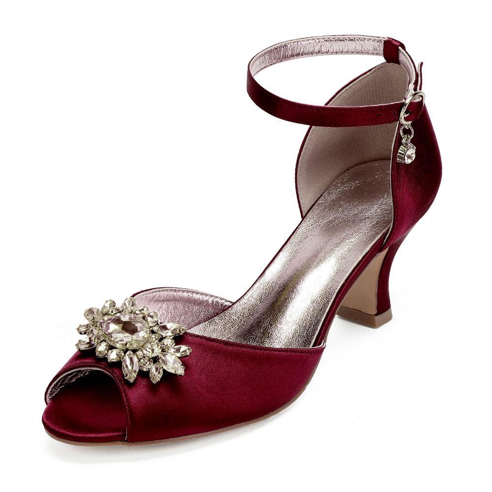 71580505e00 Hoof kitten block heel lady satin evening dress shoes open toe ankle strap  bridal wedding prom party heels crystal brooch colors