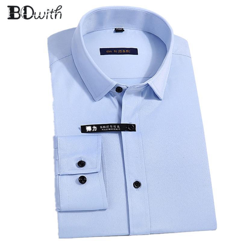 buy online 538cc e548d Nuovo arrivo nero solido camicie per uomo a maniche lunghe camicia maschile  business sociale vestito da lavoro uomo d affari camicie formale 4XL