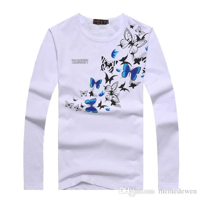98785da916d Plus Size 6XL Men S T Shirts Fashion Butterfly Print O Neck Long Sleeve T  Shirt Men Casual Slim New Style Mens Top Tees Shirt YH 164 Printed T Shirt  Funny T ...