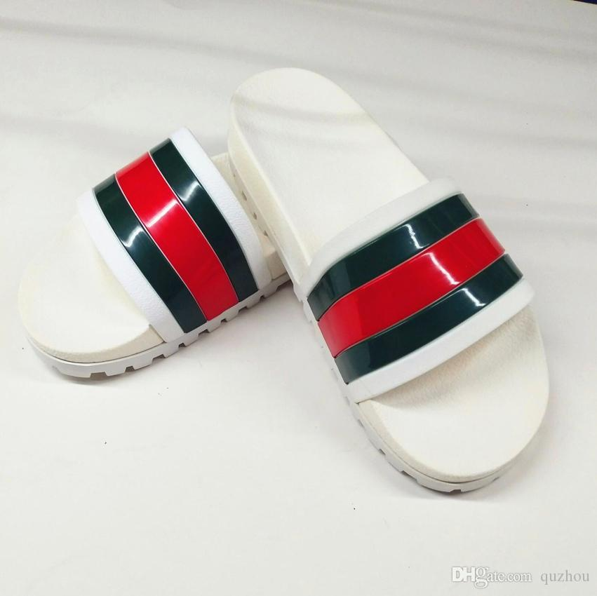 c0c597f618d5 New Mens Designer Shoes Black Rubber Green Red Web Slide Sandal GG Slippers  Beach Causal Slipper With Box Moon Boots Chukka Boots From Quzhou