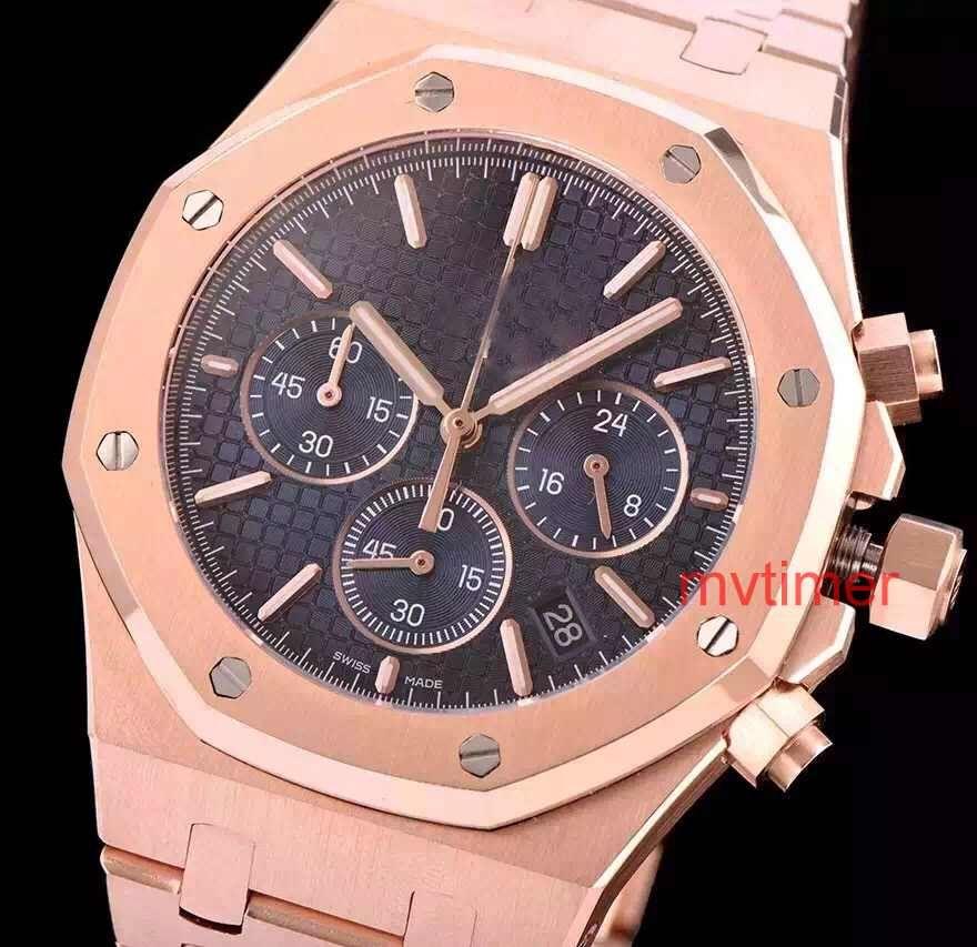 ce0afda4c30 Famous Luxury Brand Watch Royal Oak Quartz Rose Gold STAINLESS STEEL ...