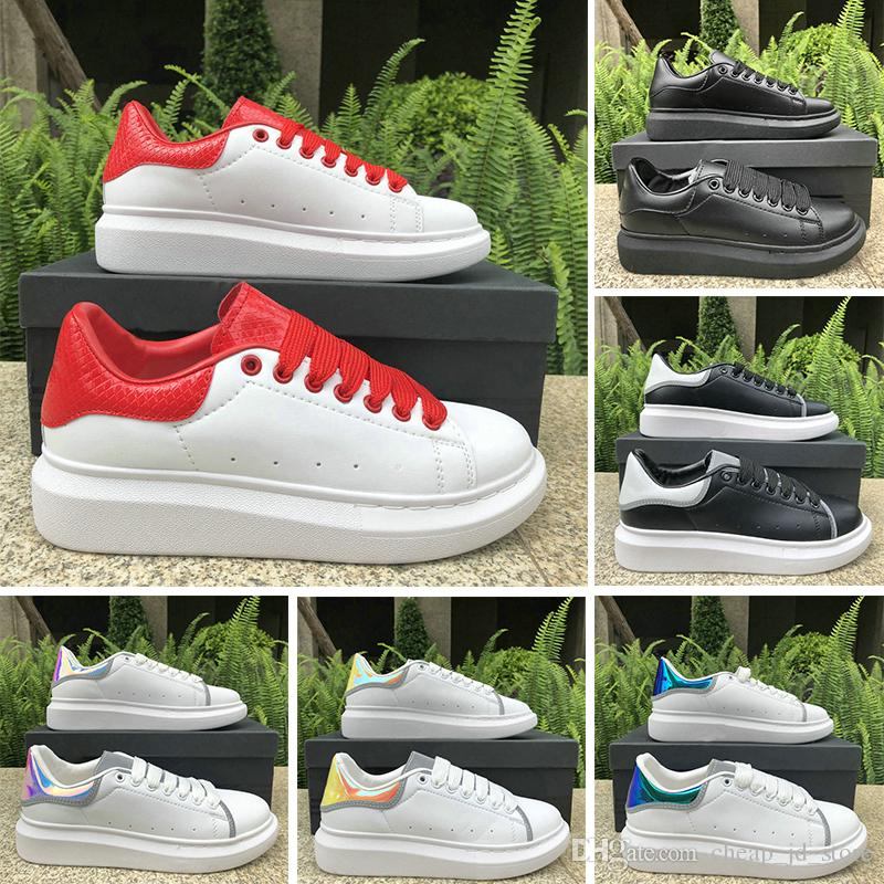 Luxury Fashion Designer Shoes 3M Reflective Women Men Leather Platform Casual Shoe Triple White Black Red Navy Mens Flat Chaussures 36-44