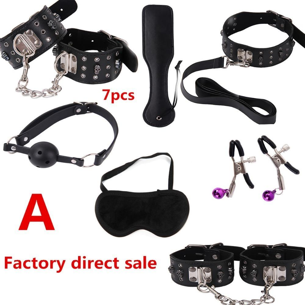 Factory Direct Sex Toy Set Sm Products Nipple Clamps Whip Gag Bdsm Sex Collar Mask Bondage Set Sexy Lingerie Hands For Sex J190629