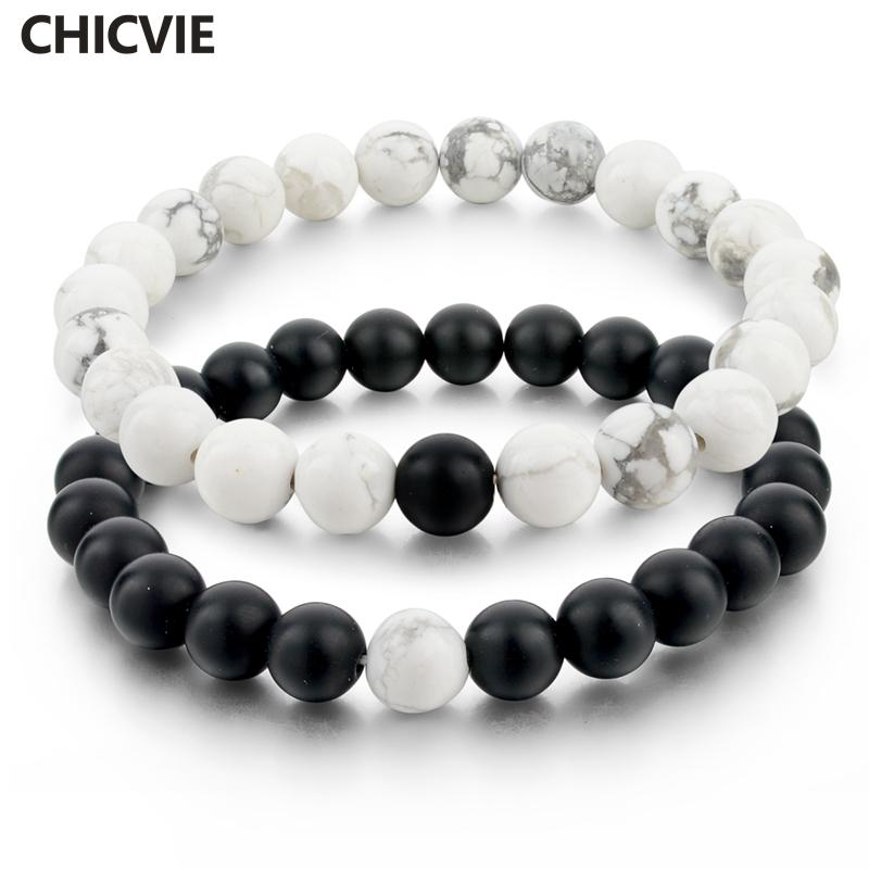 ashion Jewelry CHICVIE Black and White Natural Stone Distance Bracelets & Bangles for Women Men Strand Lovers Gifts Jewelry Bracelet...