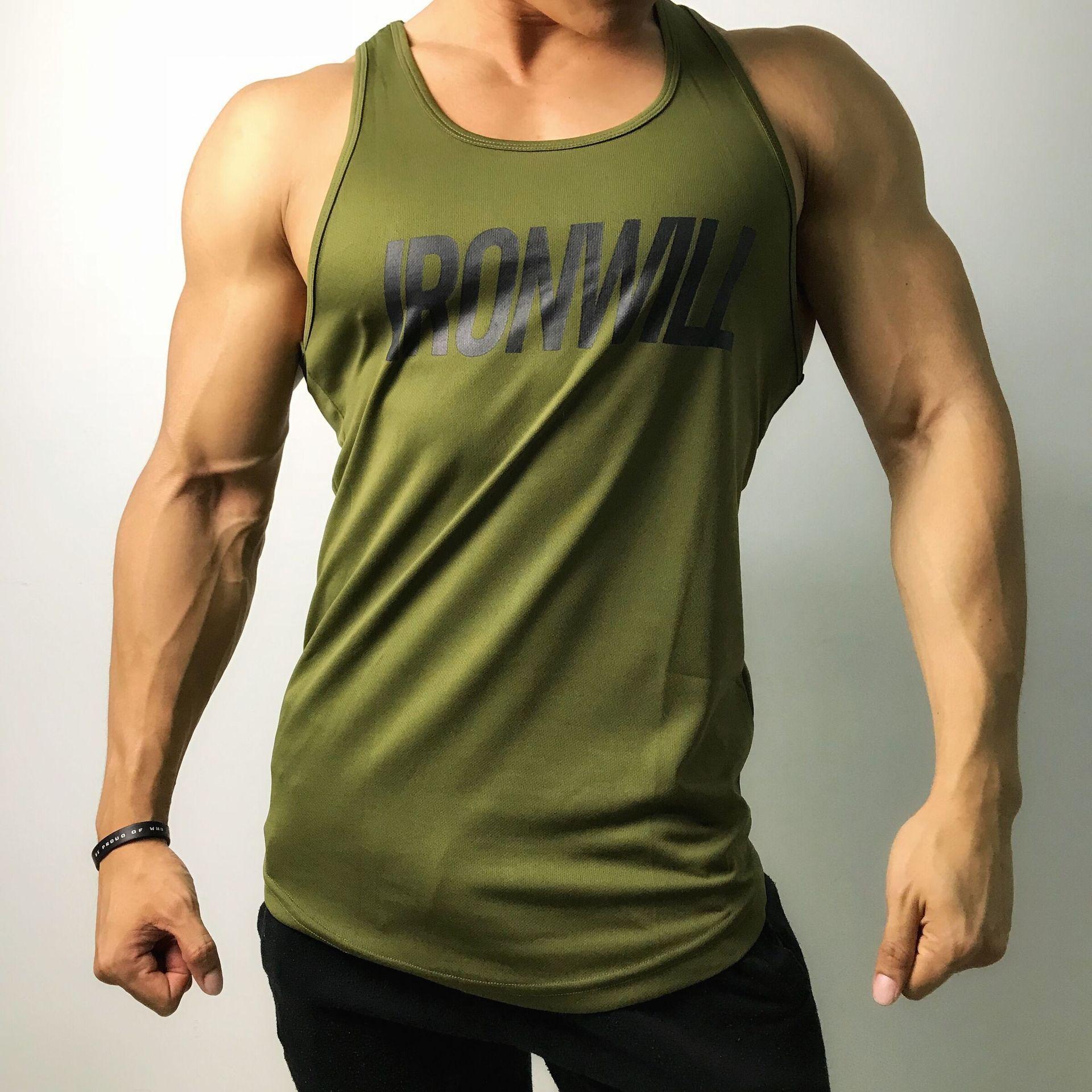 ae52d447 Vest Sleeveless T-shirt Men 2019 Summer Green New Sports Fitness Gym  Running Workout Casual Cotton Polyester Men's Round Neck Shirt