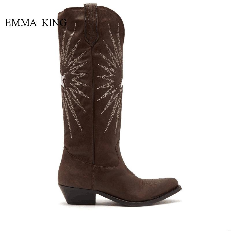 a8f1de8631d Ladies Retro Style Chunky Heels Knee High Boots Brown Electric Embroidery  Leather Long Riding Boots Autumn Winter Shoes Woman