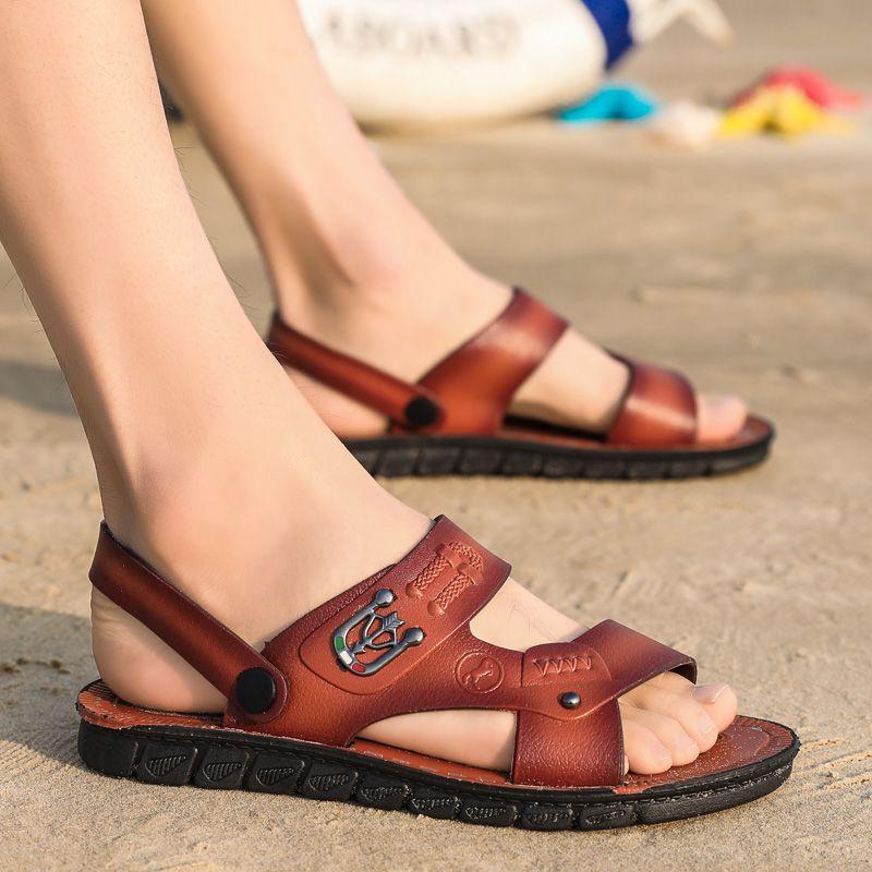 436d94daf 2019 Summer Sandals Men Leather Classic Roman Sandals Slippers ...