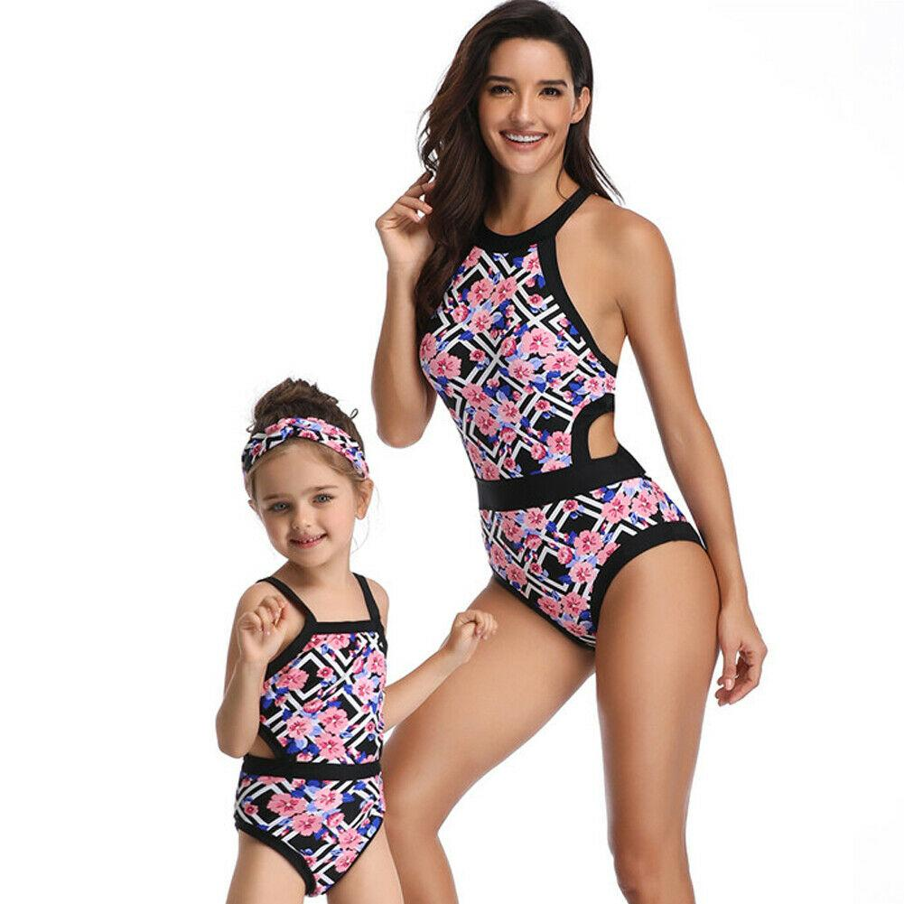 Matching Family Bathing Suits Mother Girl Bikini Swimsuit For Mom and Daughter One Piece Push Up Padded Bikini Sexy Swimwear