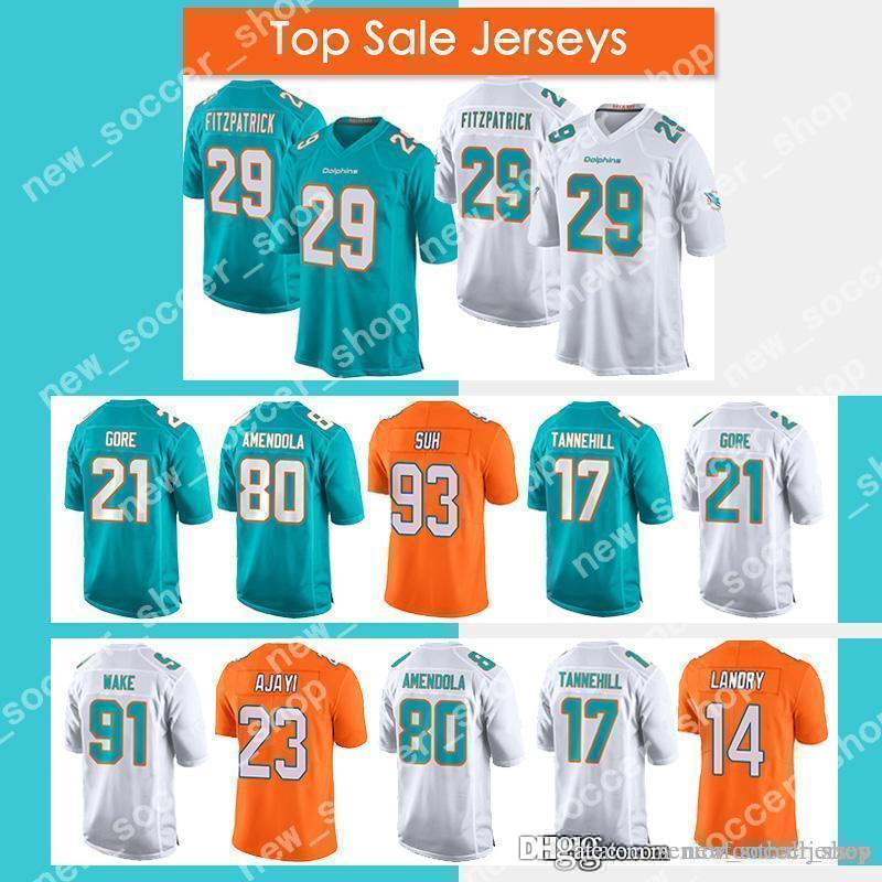 uk availability 88f48 21bbc Miami 29 Minkah Fitzpatrick Jersey Dolphins 80 Danny Amendola 91 Cameron  Wake 17 Ryan Tannehill 23 Jay Ajayi 13 Dan Marino