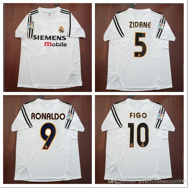 Compre 2004 2005 Real Madrid Jersey Retro Clássico Vintage 04 05 ZIDANE  BECKHAM RONALDO CARLOS RAUL Camisetas Futbol Maillot De Pé Futebol Camisa  De ... 49ec1bf08d32f