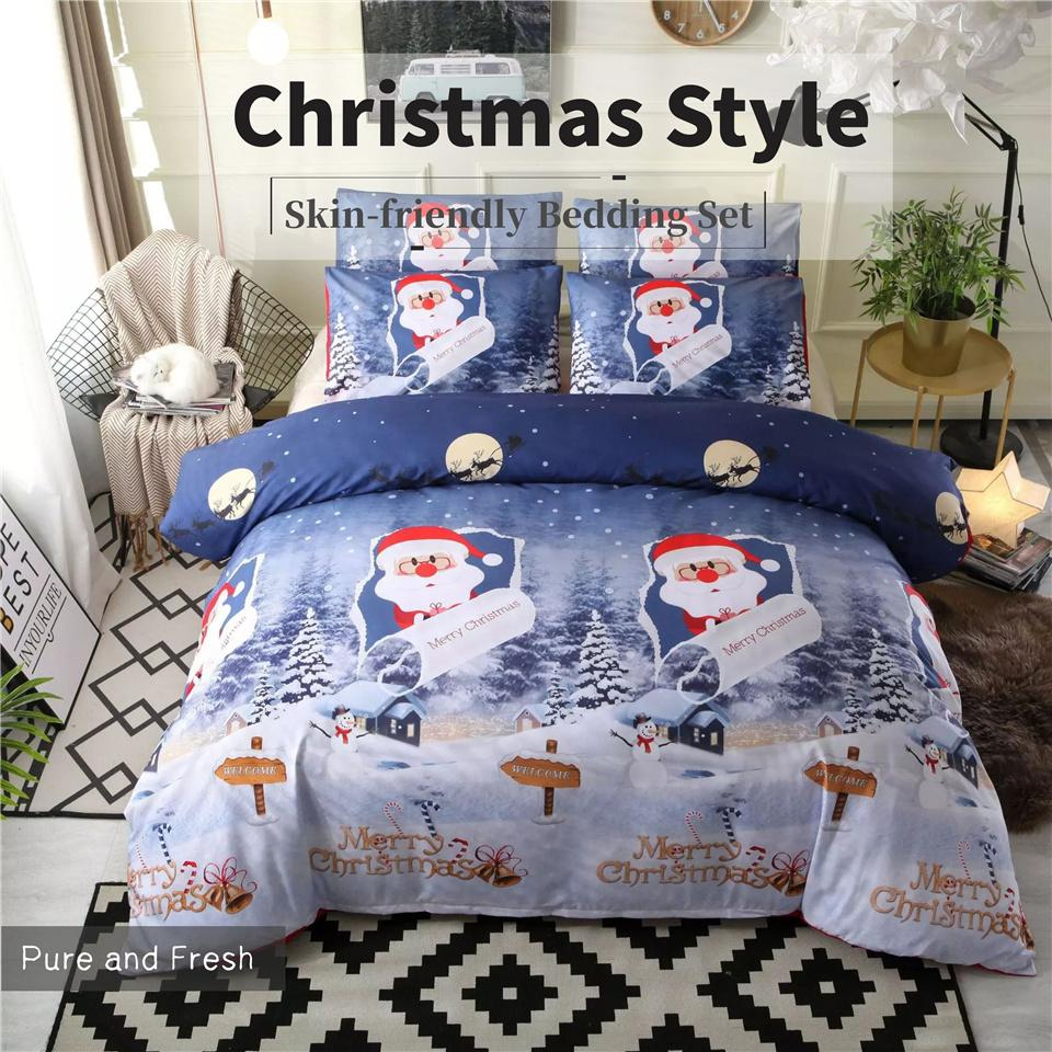Kawaii Bedding Sets Kids Blue Red Bed Sets Christmas Queen Size Comforter 3d Printed Duvet Cover Set Santa Claus Gifts