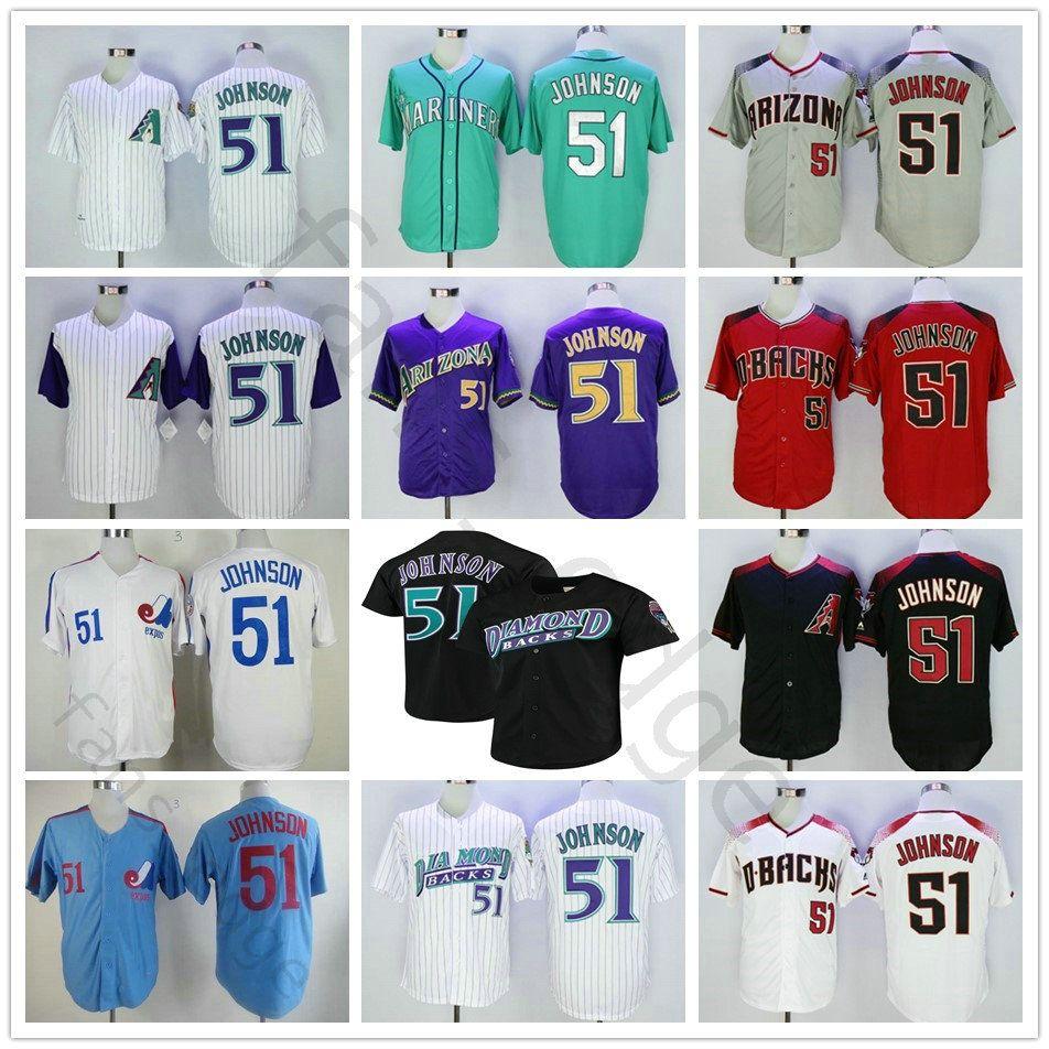 hot sale online 73286 3bec4 Seattle Hall of Fame #51 Randy Johnson Jersey Montreal Home Expos Away  Arizona Randy Johnson Diamondbacks Stitched Mariners Baseball Jerseys
