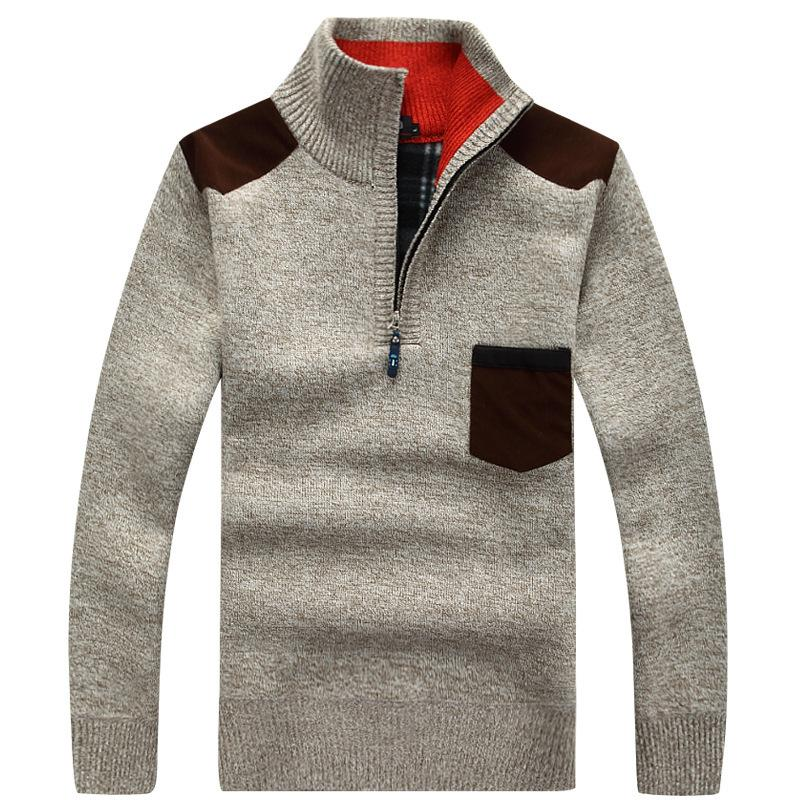Autumn and winter jacket men collar sweater sweater head plus fat Plus size fashion pullover 4XL Colorblock top