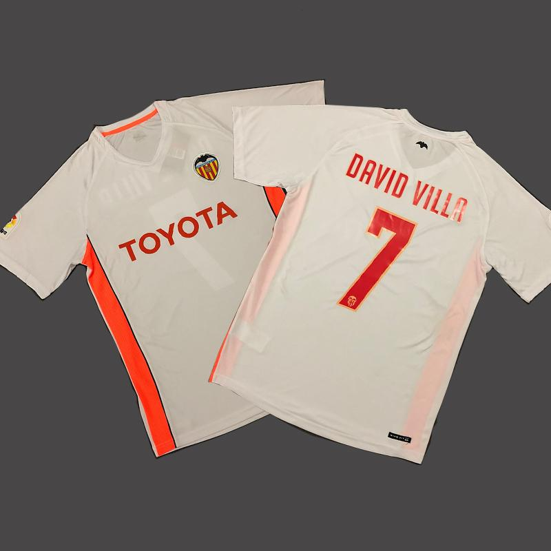 Camiseta de fútbol Vneck 2006 07 2009 Retro DAVID VILLA Camiseta retro de fútbol de local y blanco S-2XL