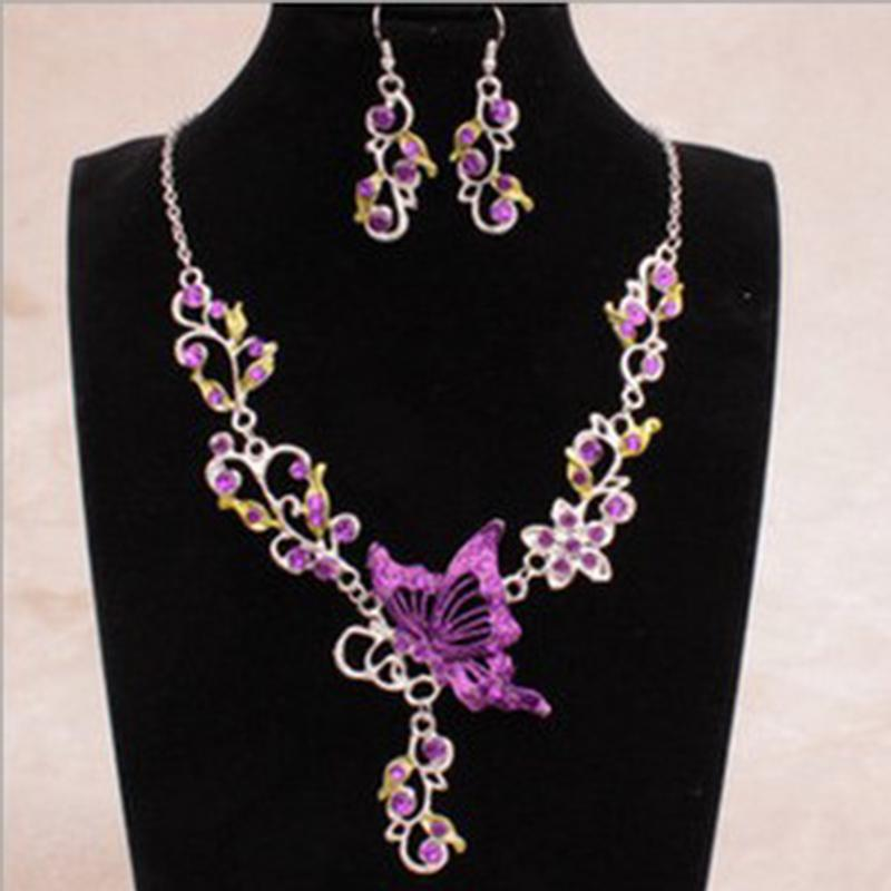 Bohemian Natural Stone Pendants& Necklaces Blue Crystal Drop Earrings Round Butterfly Chain Braided Wedding Jewelry Set VP604