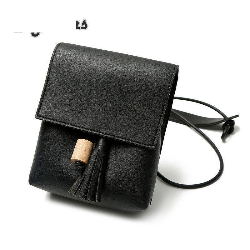 Women's Wooden Beads Square Pu Leather Shoulder Bags Solid Color Messenger Bags Small Tassel Handbag Oblique Cross Bags