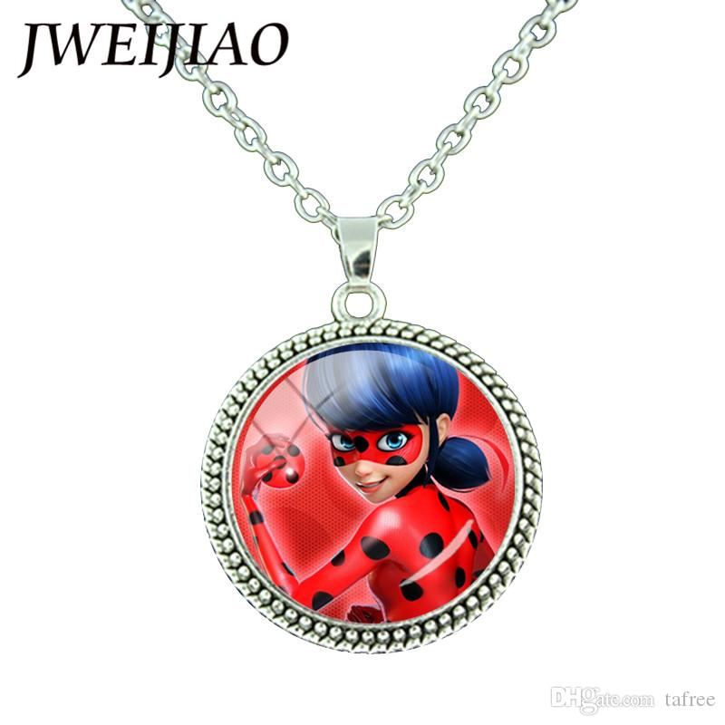 TAFREE Miraculous Ladybugs Glass Gems Pendant Necklace Silver Color Round Charms Lady Bug Girl and Black Cat Necklace LB54
