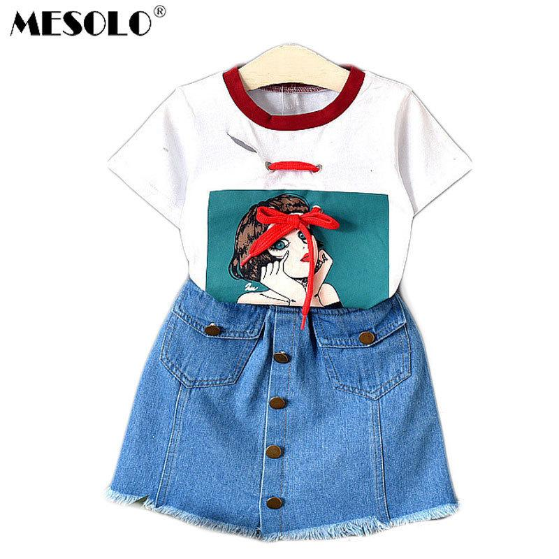 good quality Children summer new girls fashion western style denim skirts lovely short sleeve T-shirt 2019 new products