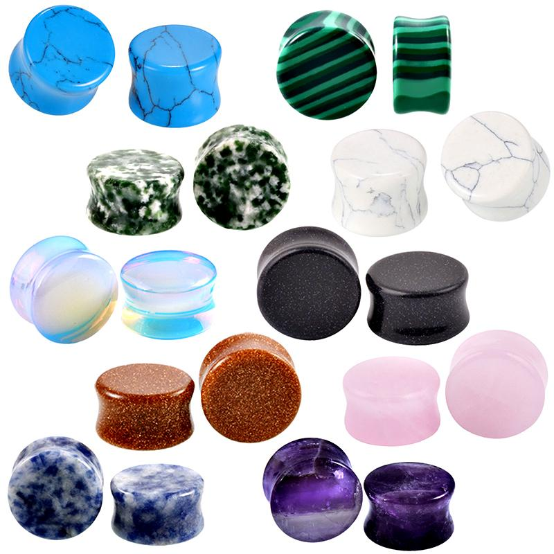 hot sale 2pcs/pair All kinds color earplugs natural stone gauges earrings women men double flared ear plug body Piercing jewelry