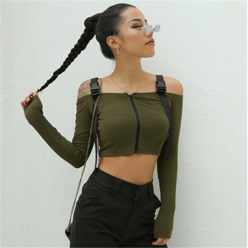 edd053d95f 2019 Sexy Women Off Shoulder Crop Top Long Sleeve Slim Knitted Sweater  Ruffle Zipper Cardigan Women Sweaters Fashion 2018 Vadim From Sideceam