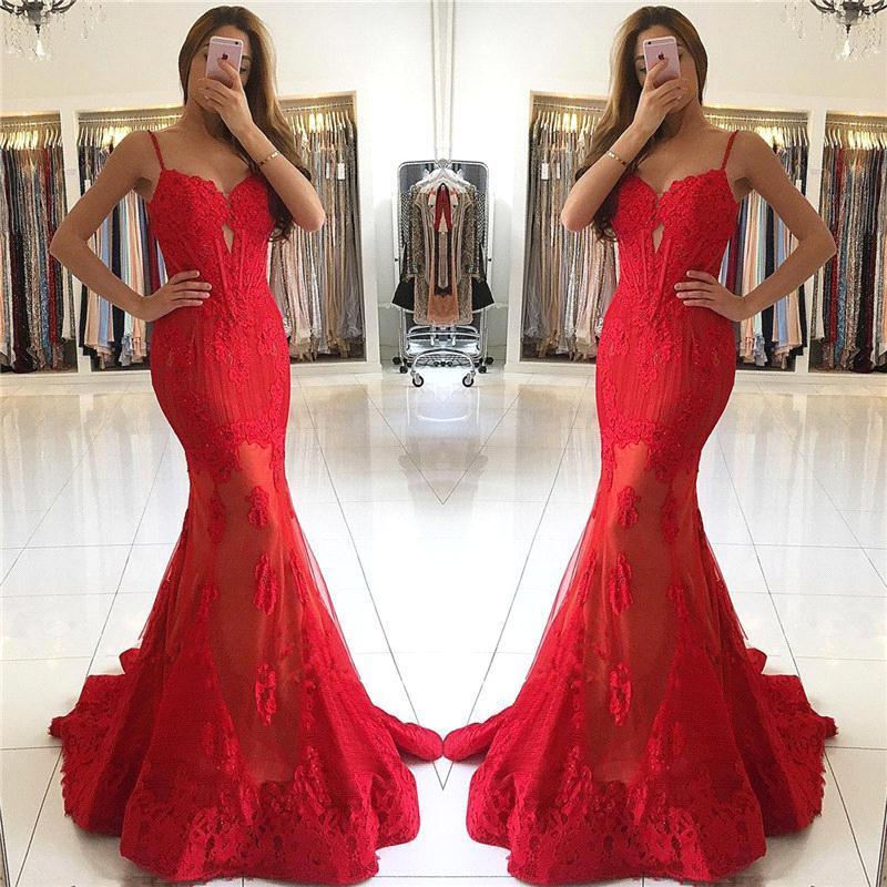 84fcb02e5e3 New Design 2018 Sweetheart Red Lace Evening Dresses Long Mermaid Spaghetti  Straps Backless Prom Party Gowns For Holidays Silver Evening Dress Stunning  ...