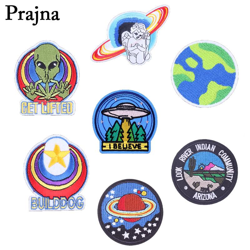 Prajna ET Spaceship Iron On Patches Badge Cloth Angel Letter Arizona Patch Applique Backpack Embroidered Sticker Accessories E