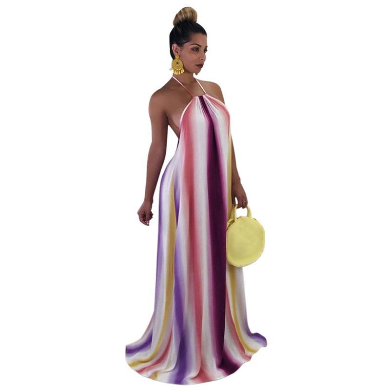 d39a0a9903 Sexy Women Sleeveless Long Dress Halter Backless Gradient Summer Beach  African Print Dress Party Evening Maxi Dress Clubwear Night Dress Sun  Dresses From ...