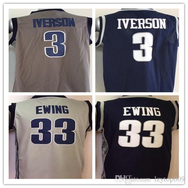 68d11893d4f7 2019 University Georgetown Hoyas Jerseys Men Sale Basketball 3 Allen  Iverson Jersey 33 Patrick Ewing Uniform College Sport Breathable Top Quality  From ...