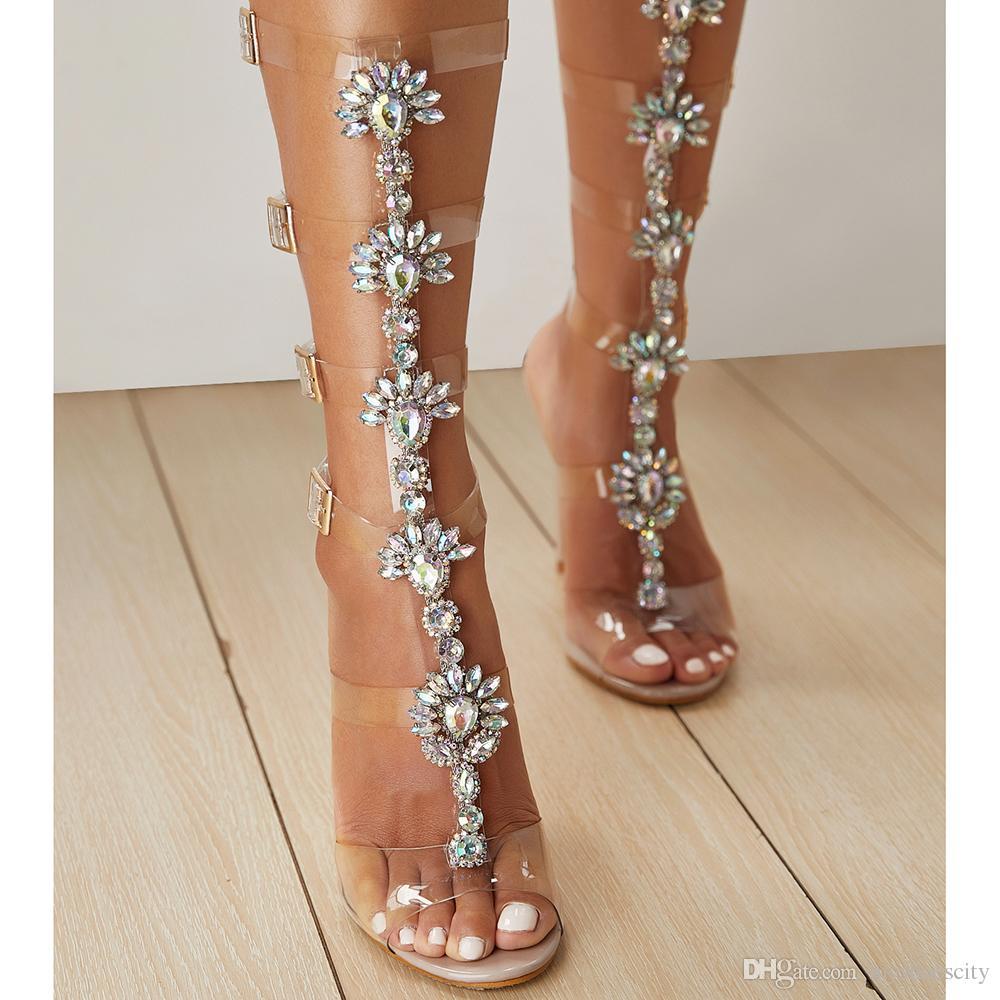 Big size 35 to 40 41 42 women dress shoes rhinestone nude PVC transparent T strap ankle wrap high heels designer sandals ladies slides