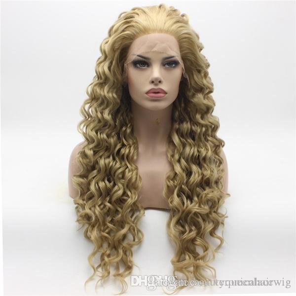 Fast Shipping Fashion Kinky Curly Long Honey Blonde Wig Half Hand