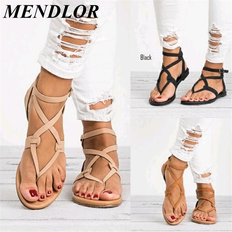 556f2c1a47 Compre Zapatos De Verano 2019 Mujer Sandalias Vendaje Mujeres Frescas Con Zapatos  Planos Sandalias Chanclas A  22.63 Del Sunace