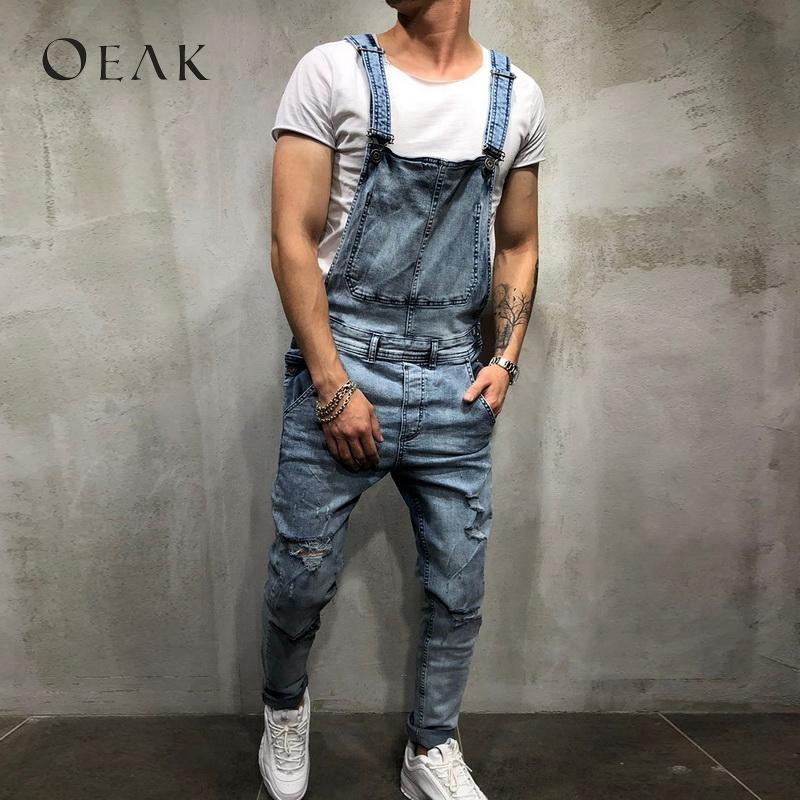 22a9b71f967 Oeak Ripped Overall for Men Vintage Jumpsuits Jeans Cowboy Pants ...