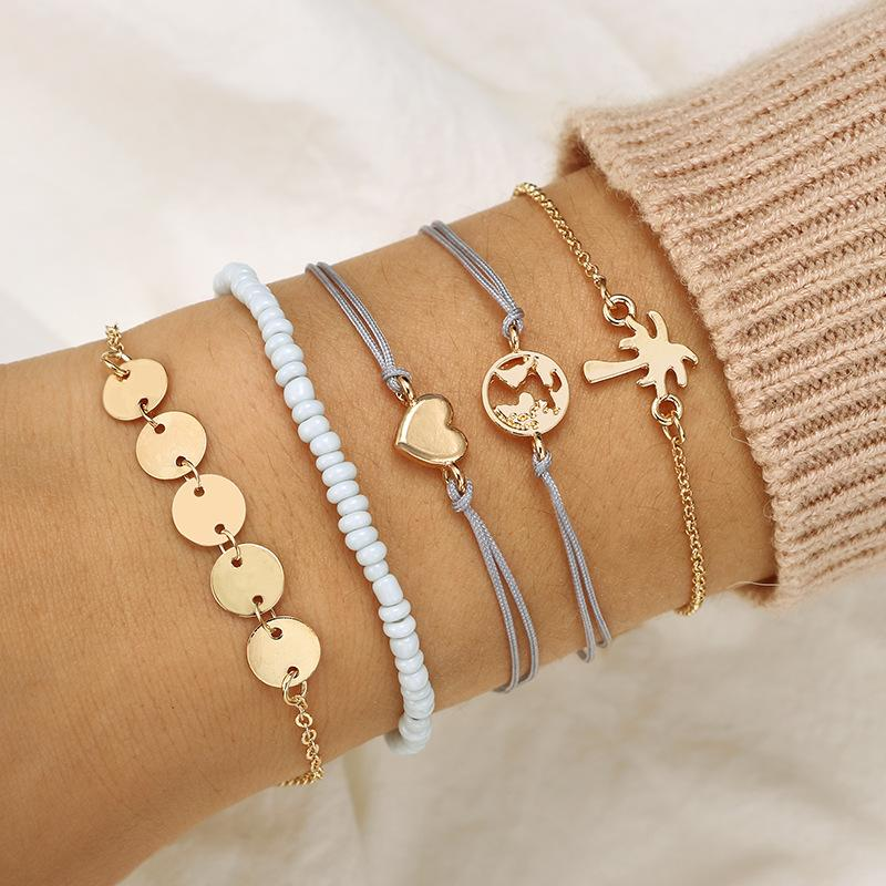 Heart Multilayer Bracelet Gold World Map Coconut Tree Coin Bracelet