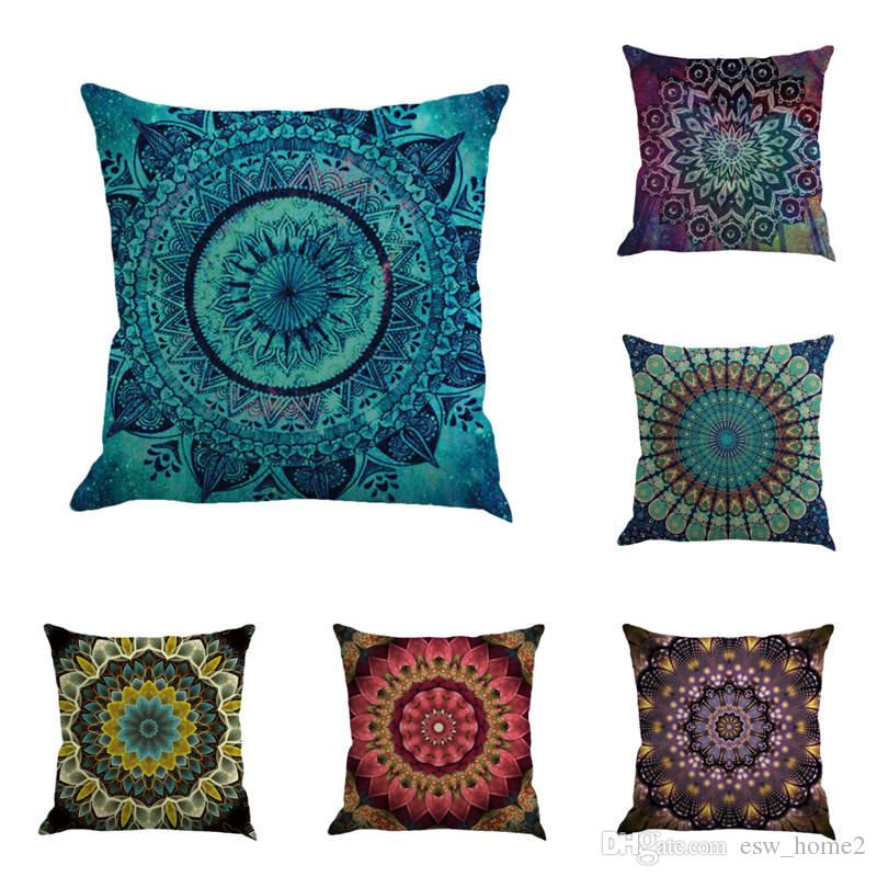 Pillow Case Bohemia Abstract Geometry Cushion Cover Flower Pattern Flax Throw Chair Seat Car Pillowcase Decorative 12 Colors