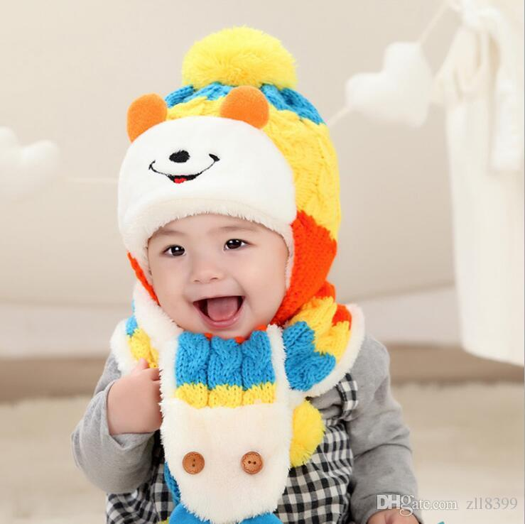 35d22e0df50 2019 0 Month 3 Years Old Winter Warm Children Hats Set Kid Pom Pom Beanie  Wool Knitted Hat For Baby Boys Girls Toddler Crochet Beanies Scarves From  Zll8399